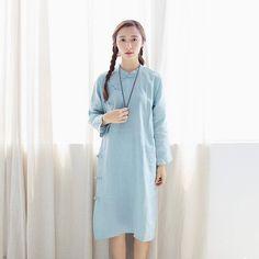 Plain Linen Cheongsam Gown (Light Green)
