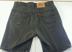 Vintage Levi's 505 Regular Fit Shorts Distressed Black Denim Tag Size 34 USA  #Levis #Denim