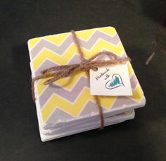 Yellow and Grey Chevron design drink coasters by 5 Creations Handmade Decor