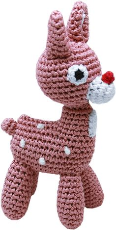Knit Knacks - Holiday Rudy Reindeer Organic Cotton Dog Toy