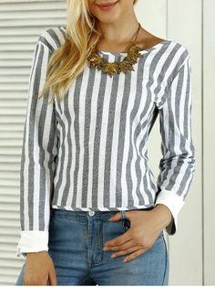 GRAY Striped Open Back Bowknot Blouse XL