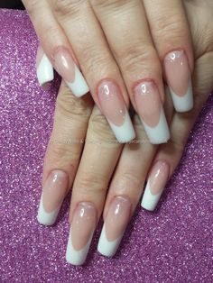 Eye Candy Nails & Training - Pink and white acrylic french overlays by Elaine Moore on 24 April 2015 at Sculptured Acrylic Nails, White Tip Acrylic Nails, Coffin Nails, Curved Nails, Beauty Hacks Nails, Pink Ombre Nails, Colorful Nail Designs, Elegant Nails, French Tip Nails
