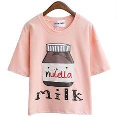 Wheretoget - Light pastel print tee-shirt with Nutella print