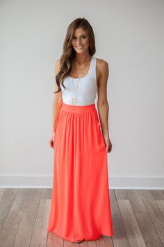 Maxi skirt and plain, fitted top Magnolia Boutique Indianapolis - Bahama Mama Solid Maxi Skirt - Coral, $39.00 (http://www.indiefashionboutique.com/bahama-mama-solid-maxi-skirt-coral/)