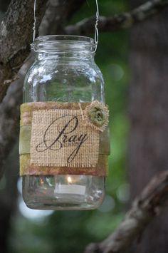 Decorative burlap quart mason jars by THE JAR by TheJarJunkie, $12.00