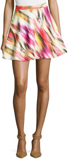 Romeo & Juliet Couture Printed Scuba A-Line Skirt, Orange/Multi, milti color mini skirt http://www.shopstyle.com/action/loadRetailerProductPage?id=470687232&pid=uid7609-25959603-56
