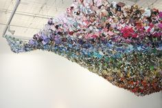 installation of 2500 suspended origami boxes all made from used, recycled and secondhand paper at The Point Gallery in Doncaster