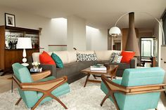 Color palate: white, walnut/brown and grey for neutrals. Bright orange and teal or turquoise for accents. Color swatch: orange, teal, brown, white.
