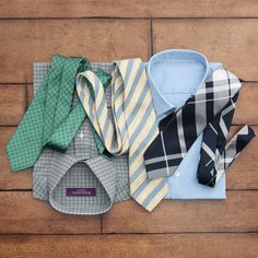 Mix and match printed ties and shirts.