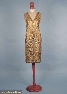 Nina Ricci, mid 1920s Gold silk satin w/ diamante, gold & silver sequins & gold bugle beads in allover zigzag & striped design w/ large florals, Augusta-auction.com