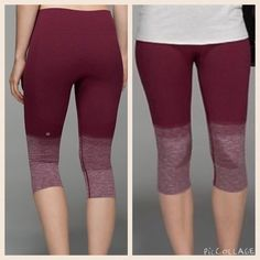 NWT lululemon seamlessly street crop ombré sz 4 New with tags lululemon seamlessly street crop, size 4. Color is ombré burgundy. NO TRADES, however, bundles are more than welcome. Please consider the fact that posh takes 20% commission prior to making any rude comments regarding my price. lululemon athletica Pants Capris