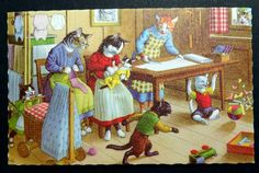Vintage Alfred Mainzer Postcard Dressed Cats Mother Cats Sew Knit Fantasy | eBay