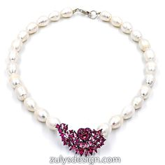 ZDN1562-BR STERLING SILVER 925 BLACK RHODIUM PLATED PEARL HEART DESIGN CZ NECKLACE