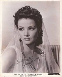 Gene Tierney, named the most beautiful woman in the world, in her time, and one of my idols!  She suffered from bi-polar and she spoke out against the stigmas attached to the bi-polar diagnosis.  Love her!