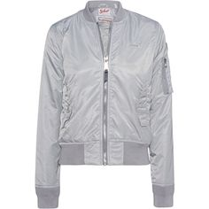 Schott NYC Bomber SIlver Grey // Bomber jacket ($245) ❤ liked on Polyvore featuring outerwear, jackets, stand collar jacket, slim fit flight jacket, gray bomber jacket, grey bomber jacket and patch jacket