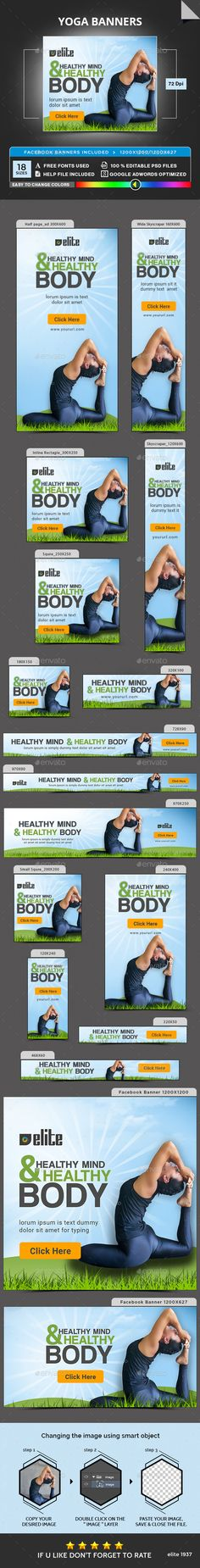 Yoga #Banners - Banners & Ads #Web Elements Download here: https://graphicriver.net/item/yoga-banners/18565971?ref=alena994