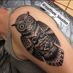 Gave a David his own little bit of wilderness today #owl #wisdom #nature #wilderness #black #tattoo #traditional @salonserpenttattoo