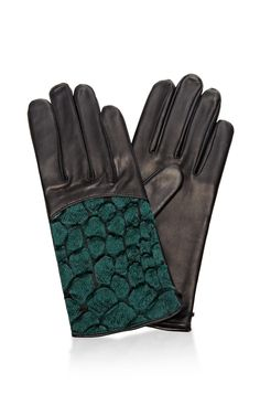 Croc-Detail Leather Gloves by Nina Ricci