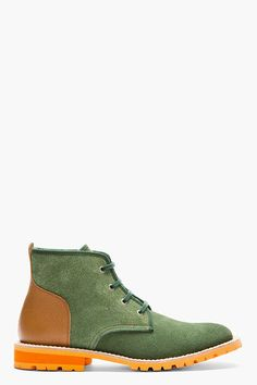 Junya Watanabe Green and Cognac Lace-up Ankle Boots