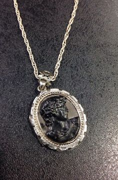 Silver victorian locket with black carved cameo on by wrightjewels