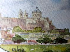 Mdina, watercolour on customized art paper, signed AM. Galea Malta 1989. Framed and glazed. Detail.