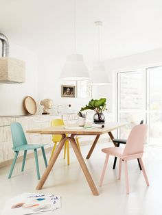 pastel home decor pink, yellow, blue pastel dining chairs muuto-white-pendant-lamps