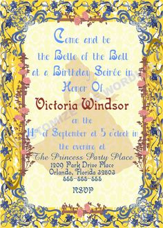 BELLE Beauty and the Beast Inspired Invitation Fairytale Parties CUSTOM Wording by GigiBabi on Etsy