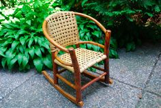 Antique  Childs Rocking Chair  attributed hickory/Indiana Willow Co Martinsville #wovenandcarvedwoodrocker #AttributedtoIndianaWillowcobutnotsure