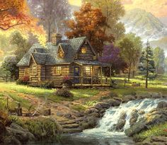 THOMAS KINKADE. I really don't want a mansion in the hereafter. This cute little cabin will do. :}
