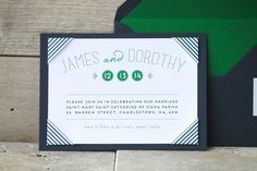 BLOG — KRUSHgraphics // custom wedding invitations, navy and white stripes with green accents