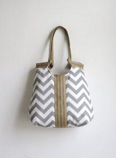 Grey Chevron Bag