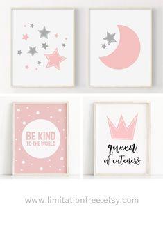 Moon and stars girl nursery decor, Printable nursery wall art, Grey and pink girl nursery, baby wall art, printable nursery art