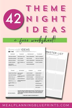 42 Theme Night Meal Ideas| Free Printable | Meal Planning template | Pantry organization | Freezer meals | Whats for Dinner