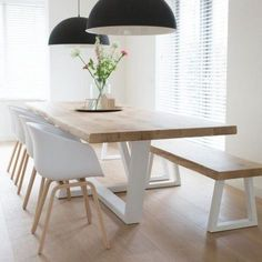 Cool 40 Fascinating Diy Dining Table Design Ideas That Looks Awesome Dinning Table With Bench, Banquette Table, Dinning Table Design, Diy Dining Room Table, Modern Dining Table, Dining Rooms, White Dining Table, Oak Table, Dining Tables