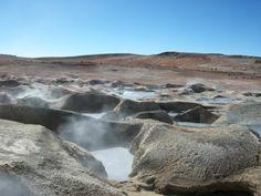 Bolívie, Altiplano, prameny horkého bahna a vody