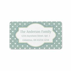 Blue Green & White Polka Dot Return Address Labels