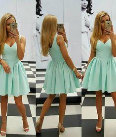 Cute V Neck Short Mint Green Homecoming Dress Party Dress