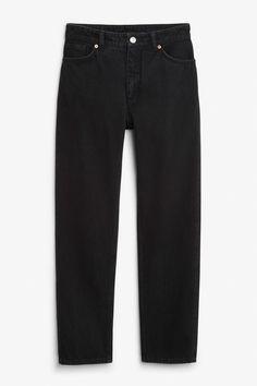 Front image of Monki moluna worn-in jeans in black
