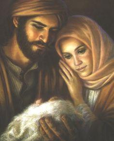 Mary and Joseph with baby Jesus