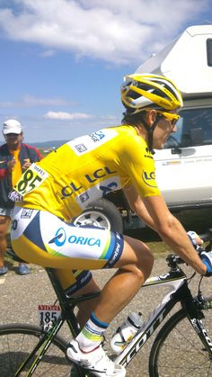 Daryl Impey from South Africa didn't wear yellow very long. South Africa, Cycling, Bicycle, Yellow, How To Wear, Bicycle Kick, Biking, Bicycles, Bicycling