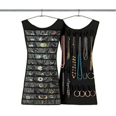 This is so cool. Little Black Dress Hanging Jewelry Organizer by Umbra® a stylish way to store earrings, necklaces and bracelets.  #fashion #storage #jewelry #stylish #home #decor #organizing #closet #bedroom #gift #chic #apartment $24.99