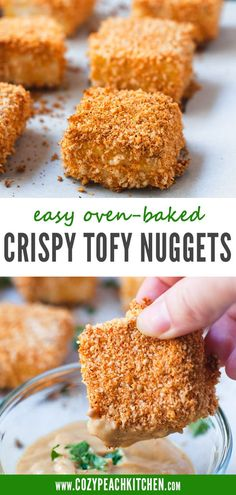 This recipe for Crispy Baked Tofu Nuggets is the perfect finger food for your next party! They're crispy and oven-baked with a little kick. You'll love how easy it is to make these. Vegetarian Comfort Food, Vegetarian Dinners, Baked Tofu, Oven Baked, Kitchen Recipes, Cooking Recipes, Peach Kitchen, Vegan Appetizers, Tempeh