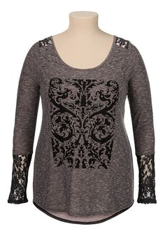 maurices premium plus size flocked print high-low tee  available at #Maurices