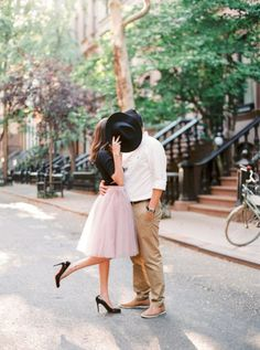 LOVe her pink tulle skirt! <3   Romantic NYC engagement sessionPhotography: Le Secret D'Audrey
