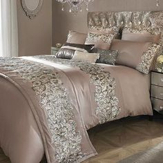 Rose pink cotton duvet cover by Kylie Minogue with sequins