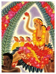 Vibrant Hawaiian Graphic Menu from the SS Lurline Cruise Ship Artwork by Frank MacIntosh, x Hawaiian Art, Hawaiian Flowers, Vintage Hawaiian, Vintage Menu, Vintage Postcards, Hula Dancers, Canvas Prints, Art Prints, Sale Poster