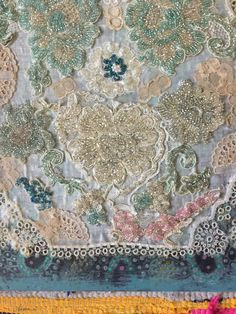 vintage beaded embroidery collage by karen michel