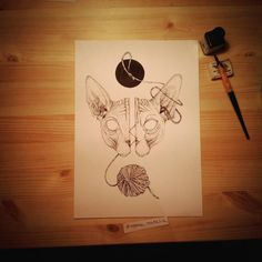 Death mask /Sphynx/ Finish A4 paper, black ink and tousend of dots.  If you will have digital prints of this illustration or original artwork please send me DM. Insta: @cipananatalia Fb: facebook.com/cipananatalia