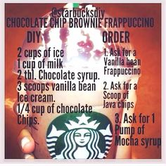 DIY Chocolte Chip Brownie Frappuccino starbucks re+ Starbucks Frappuccino, Starbucks Hacks, Bebidas Do Starbucks, Secret Starbucks Recipes, How To Order Starbucks, Starbucks Secret Menu Drinks, Homemade Starbucks Recipes, Diy Starbucks Drink, Starbucks Brownie Recipe