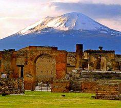 Pompeii with Mt. Vesuvius (the volcano) in the background